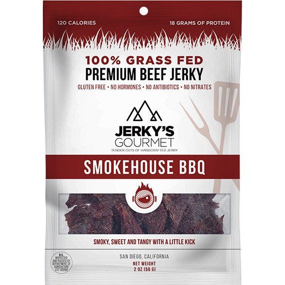 Jerky's Gourmet Smokehouse BBQ Flavored Beef Jerky Front