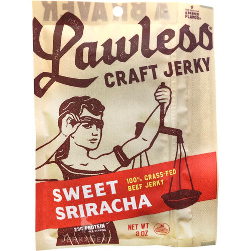 Lawless Beef Jerky Sweet Sriracha Spicy Jerky Front Of Package
