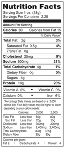 Chudabeef Original Nutrition Facts