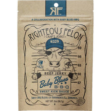 Righteous Felon Baby Blues BBQ Beef Jerky Front of Package