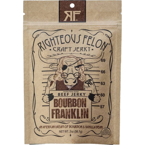 Righteous Felon Bourbon Franklin Beef Jerky, 2-oz