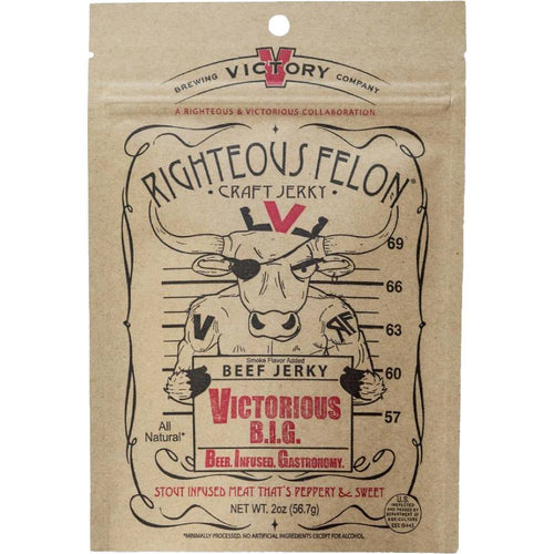 Righteous Felon Victorious BIG Stout Beer Beef Jerky Front