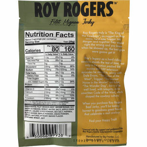 Roy Rogers Filet Mignon Beef Jerky Back Nutrition Facts