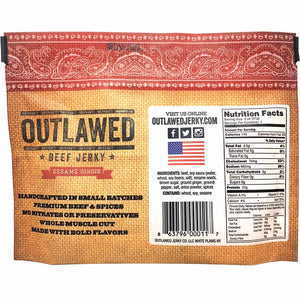 Outlawed Beef Jerky Sesame Ginger Back of Package