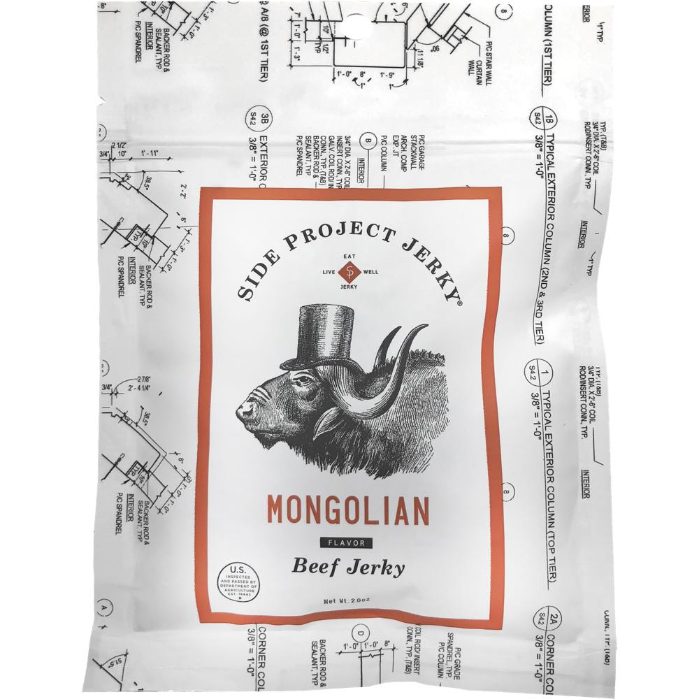 Side Project Beef Jerky Mongolian Flavored Jerky Front