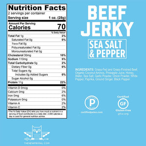 The New Primal Sea Salt & Pepper Beef Jerky Nutrition Facts