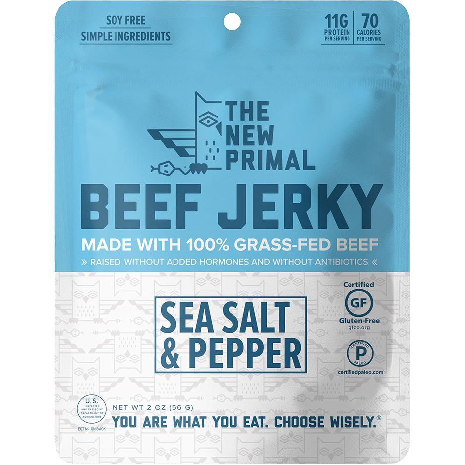 The New Primal Sea Salt & Pepper Grass-Fed Beef Jerky