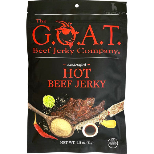 The GOAT Beef Jerky Company Hot Beef Jerky Front Of Bag