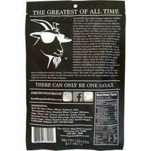 The GOAT beef jerky company original flavored beef jerky back of package nutrition facts