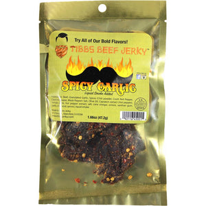 Tibbs Spicy Garlic Flavored Beef Jerky Front of Package