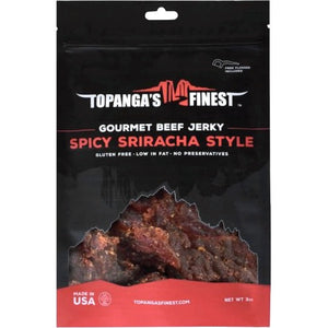 Topanga's Finest Gourmet Beef Jerky Spicy Sriracha Front of Package