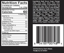 Two Chicks Beef Jerky Carne Asada Nutrition Facts