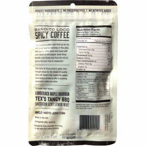 Uncle Andy's Beef Jerky Spicy Coffee Bandito Loco Back of Package