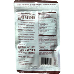 Uncle Andy's Maple Bourbon Jerky Back of Package