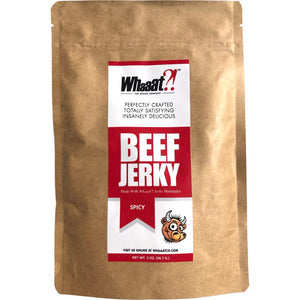 Whaaat?!Co Premium Beef Jerky Spicy - Front of Package