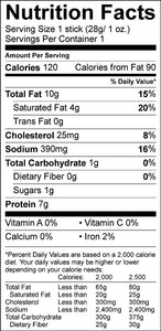 Firecreek snacks original beef stick nutrition facts label