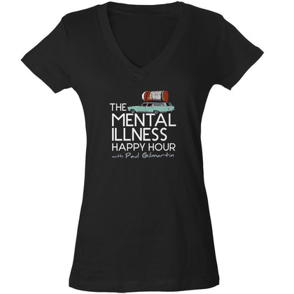 Ladies Mental Illness Happy Hour Logo Vneck Tshirt – Slim Fit