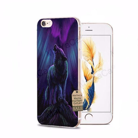 Howling Northern Lights Wolf iPhone Cases