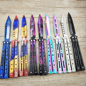 Titanium color Stainless Steel knife Butterfly Training