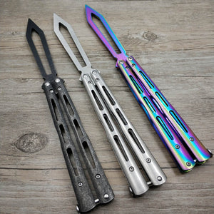Stone washed treatment Stainless Steel Training butterfly knife