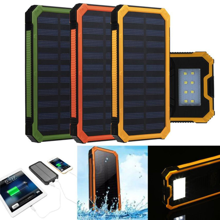 Waterproof 20000mAh Portable Solar Charger Dual USB Battery Power Bank