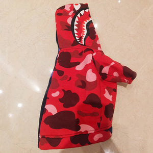 Bathing Pup Camo Shark Dog Hoodie