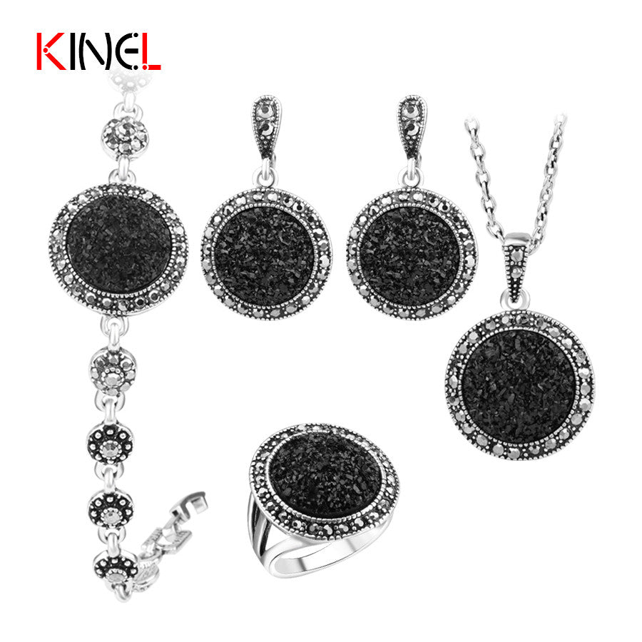 2016 NEW Black Broken Stone Wedding Jewelry Sets Earrings Ring For