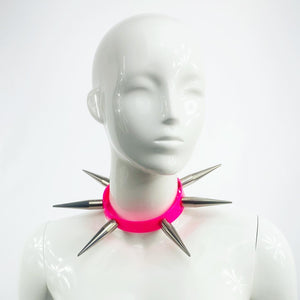 BITCHSPIKE CHOKER IN NEON PINK + CHROME