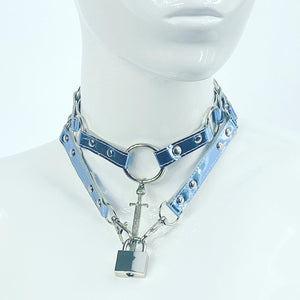 CHOKER SET - 5 OF SWORDS + LOCK CHOKER IN METALLIC BABY BLUE
