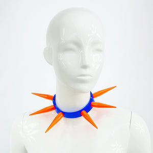 BITCHSPIKE CHOKER IN BLUE + NEON ORANGE