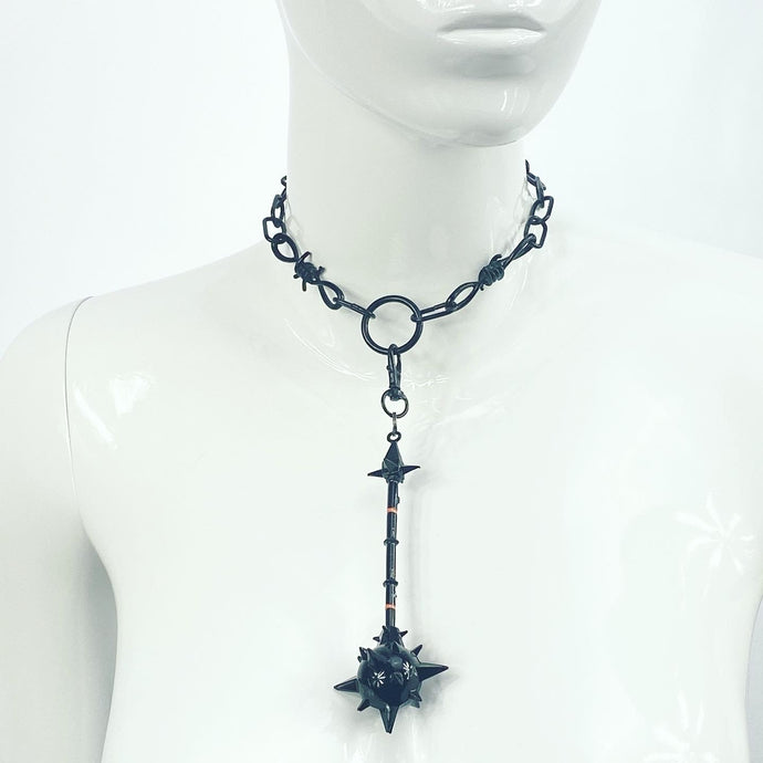 MACE CHARM NECKLACE IN BLACK