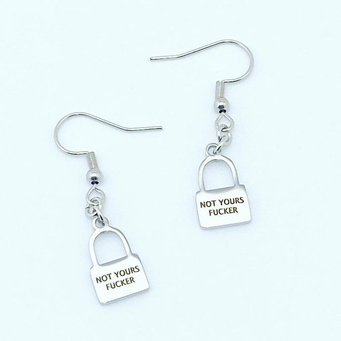 NOT YOURS FUCKER MINI LOGO LOCK EARRINGS