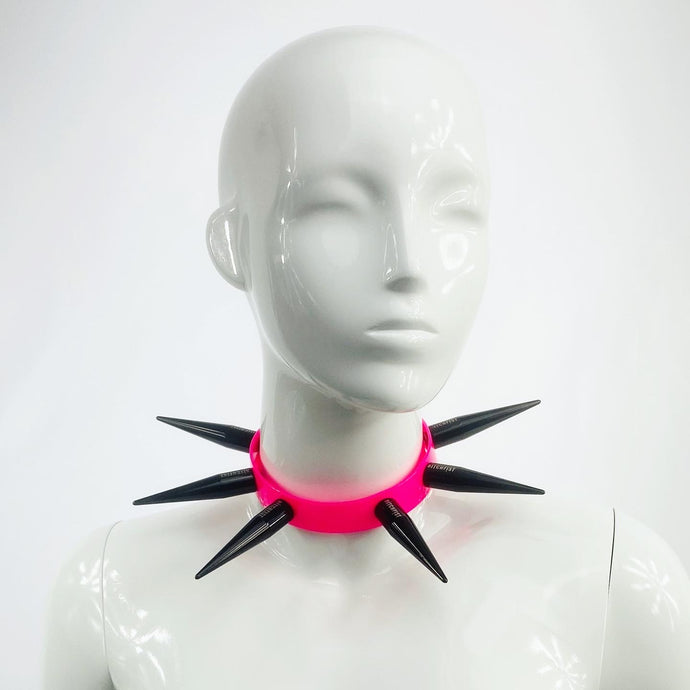 BITCHSPIKE CHOKER IN BLACK + NEON PINK