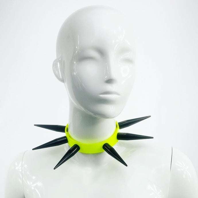 BITCHSPIKE CHOKER IN BLACK + NEON YELLOW