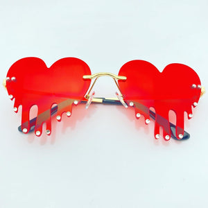 DRIPPING HEART SUNGLASSES IN RED