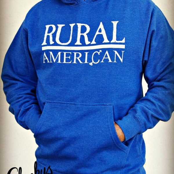 Rural American Royal Blue Vintage Pullover with Beige Print