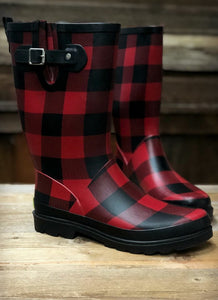 Bufflao Plaid Rain Boots