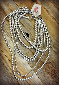 Burnished Silver 7 Strand Necklace Set