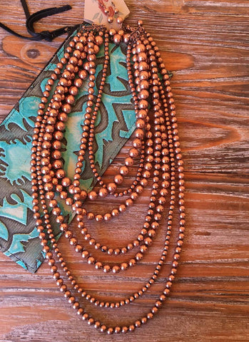 Copper Seven Strand Necklace Set