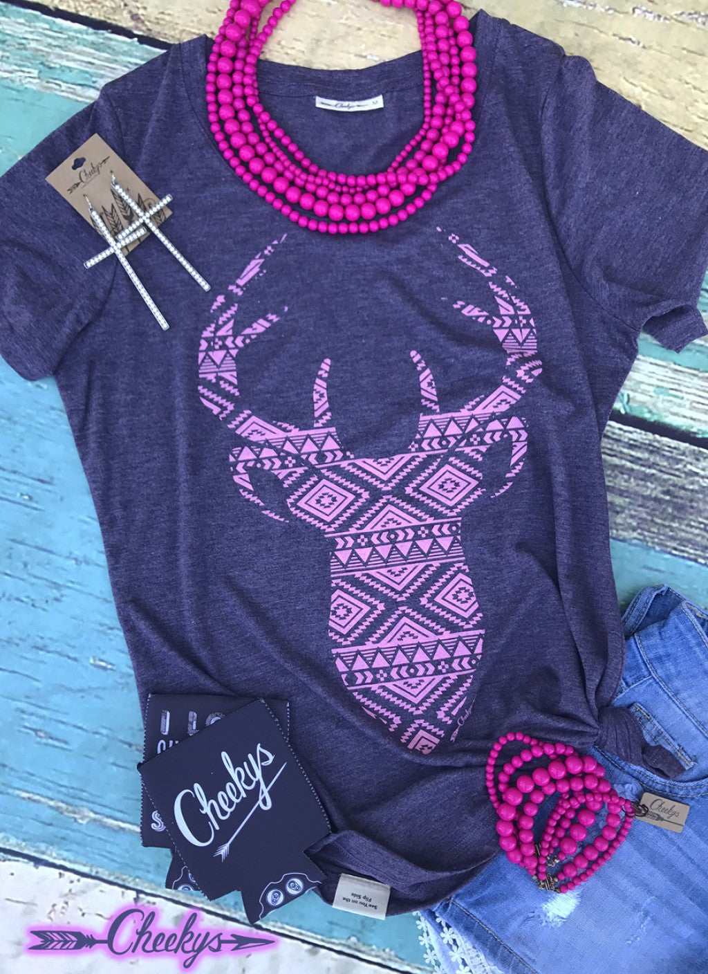 Aztec Deer Scoop in Night Shade with Kiss Pink Print