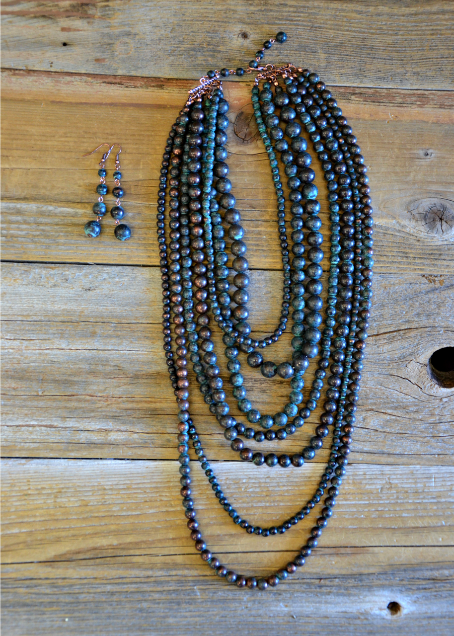 Loretta Patina 7 strand Necklace Set