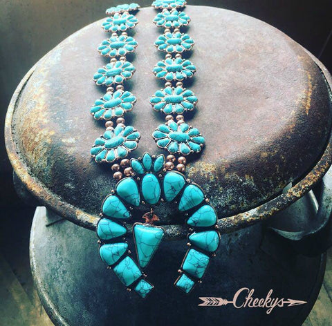 Danielle Turquoise and Copper Squash Blossom Necklace          Price Drop!