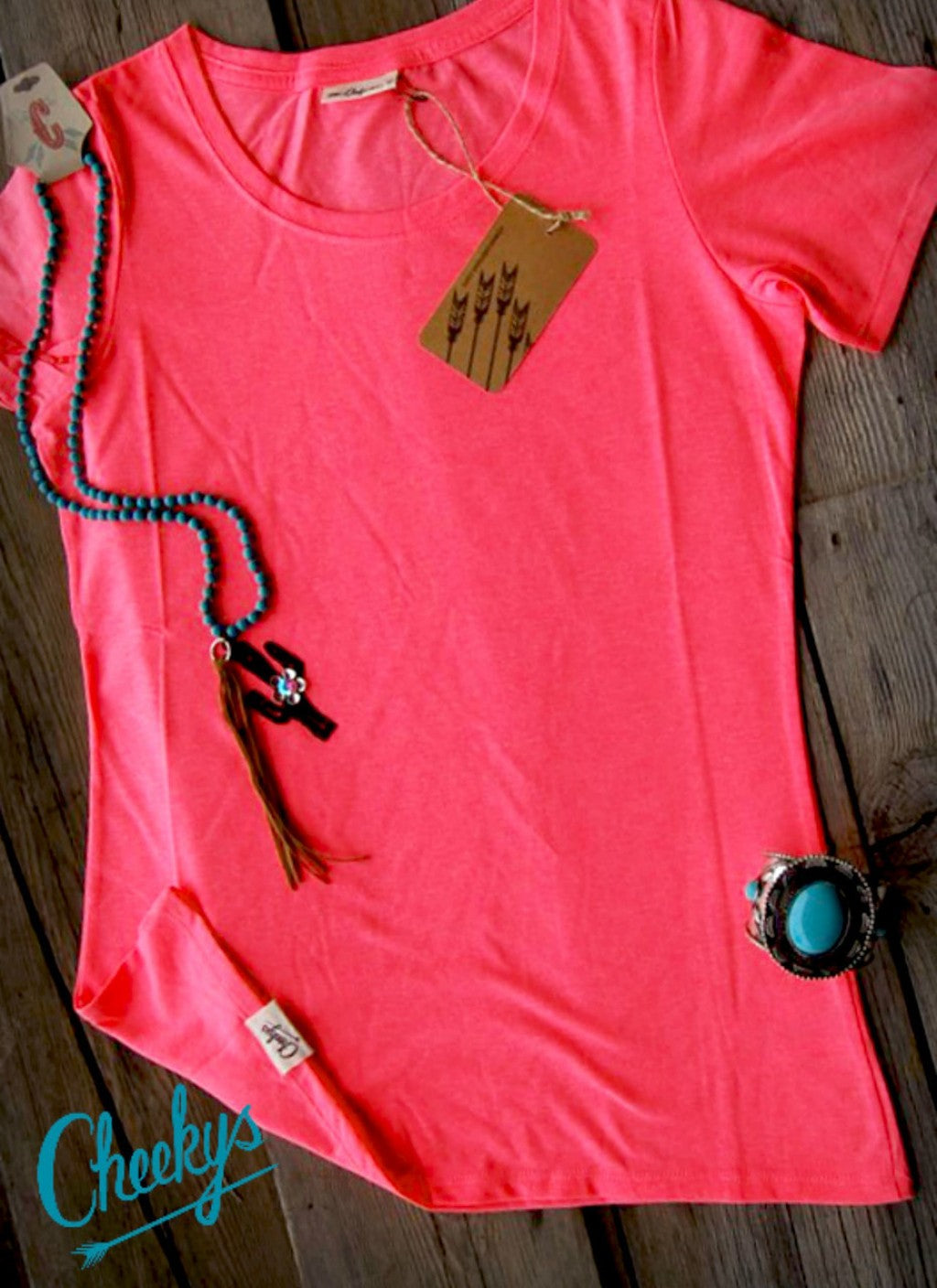 Fluorescent Coral Scoop Layering Tee