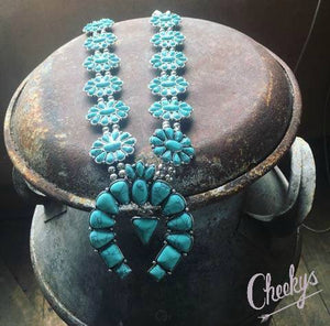 Danielle Turquoise and Silver Squash Blossom Necklace