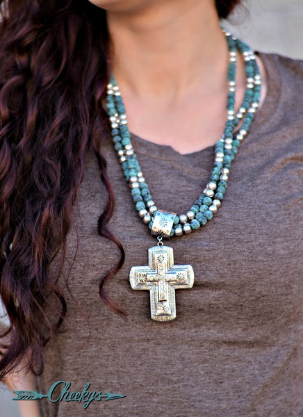 Susannah Silver and Patina Cross Necklace and Earring Set