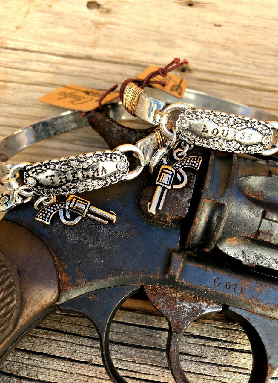 Thelma and Louise Burnished Silver Bracelet Set of Two