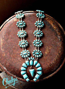 Danielle Turquoise and Burnished Gold Squash Blossom Necklace.                   Price Drop!
