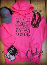Gypsy Soul Bright Pink Pullover with Graphite Print