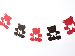Teddy Bear Garland Red and Brown
