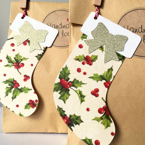 Christmas Stocking Holly gift tags.